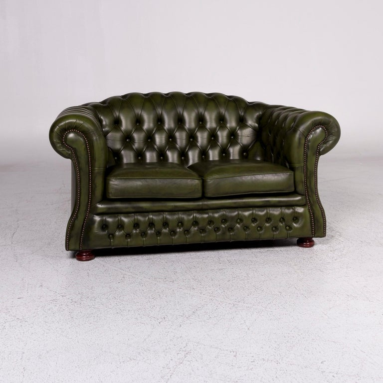 Peachy Chesterfield Leather Sofa Green Two Seater Retro Couch For Onthecornerstone Fun Painted Chair Ideas Images Onthecornerstoneorg