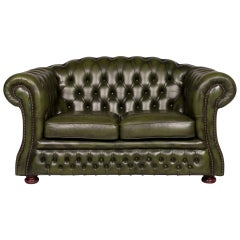 Chesterfield Leather Sofa Green Two-Seater Retro Couch