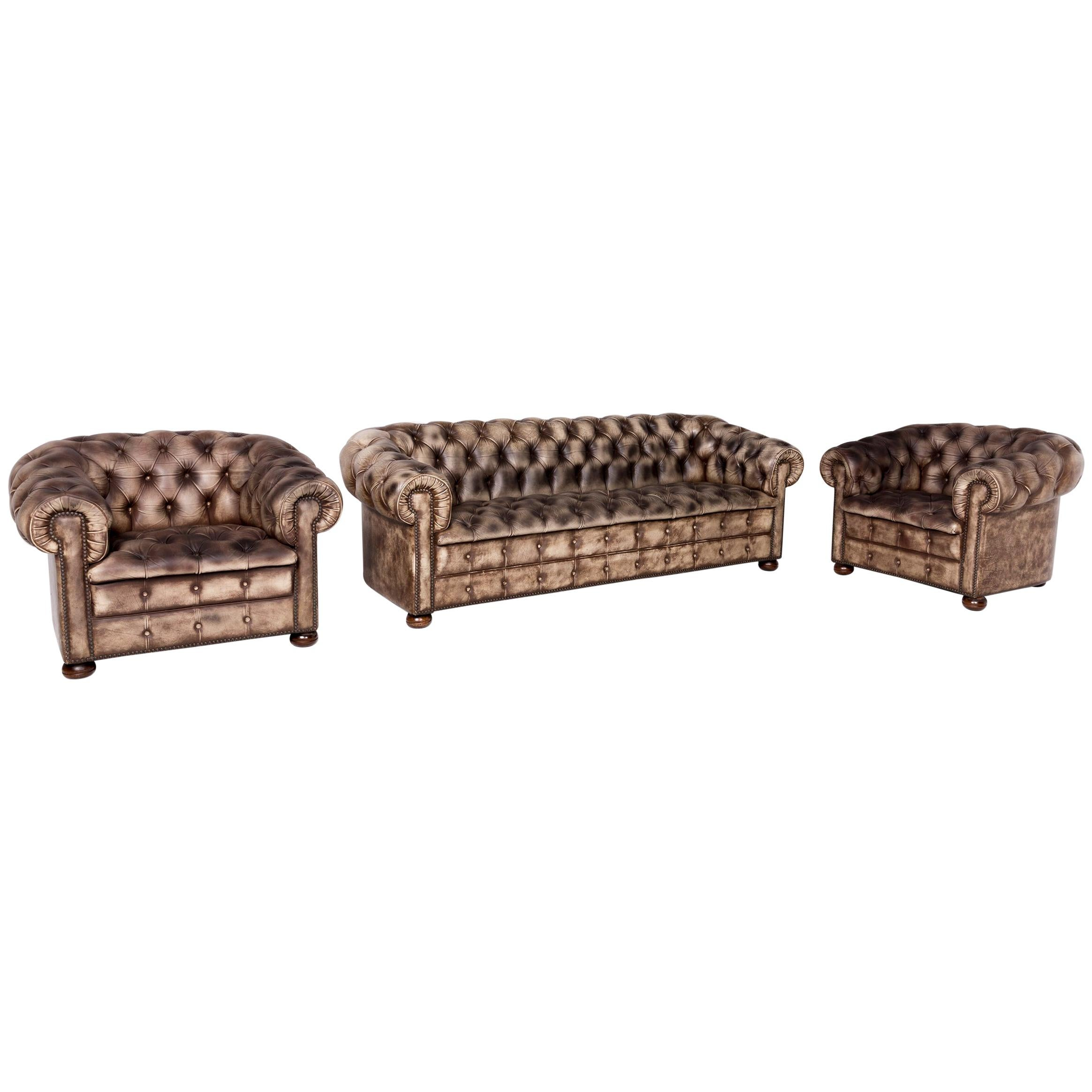 Chesterfield Leather Sofa Leather Sofa Armchair Set Cream Pattern Real  Leather