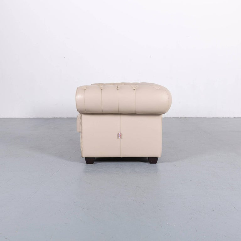 Chesterfield Leather Sofa Off-White Two-Seat Couch 6