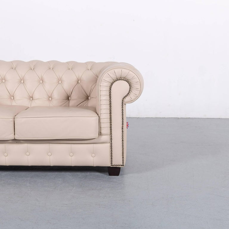 British Chesterfield Leather Sofa Off-White Two-Seat Couch