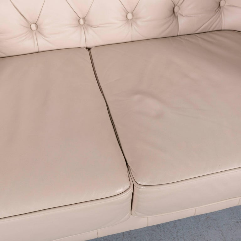Contemporary Chesterfield Leather Sofa Off-White Two-Seat Couch
