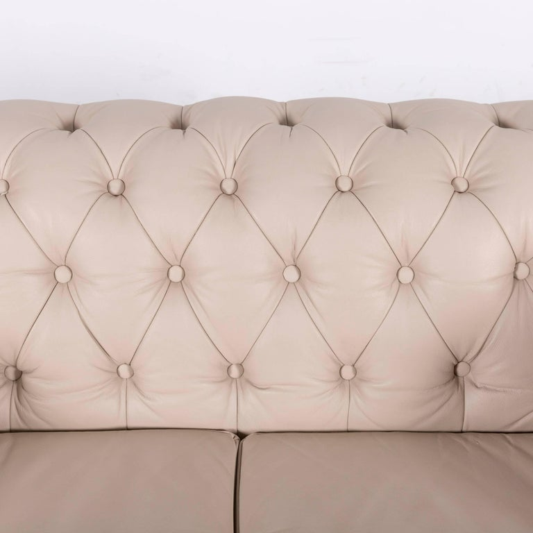 Chesterfield Leather Sofa Off-White Two-Seat Couch 1