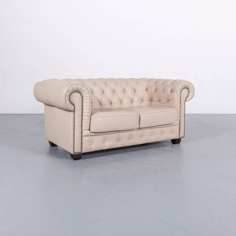Chesterfield Leather Sofa Off-White Two-Seat Couch 2
