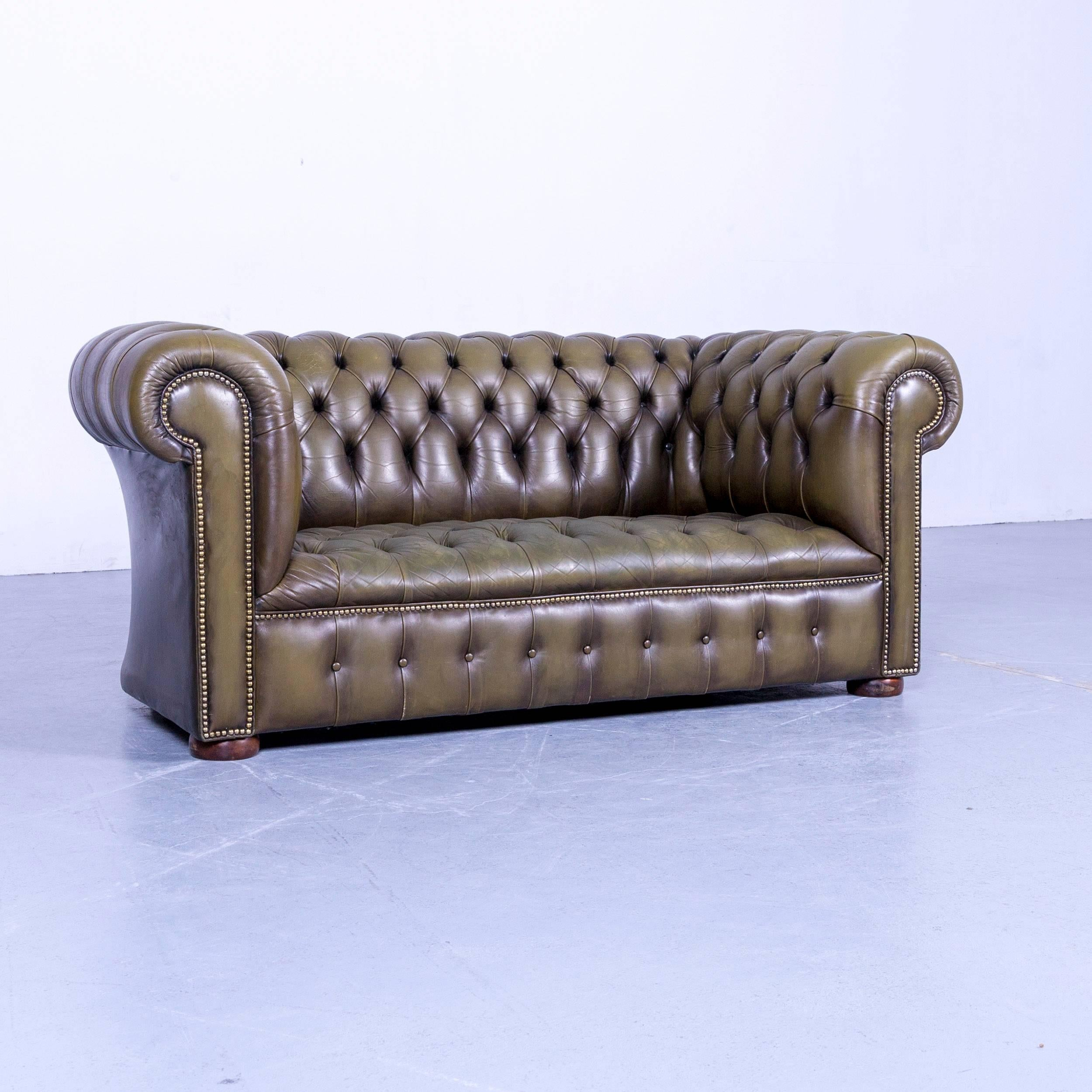 An Chesterfield Leather Sofa Olive Green Couch Vintage Two Seat.