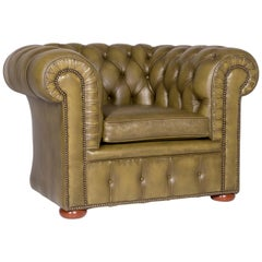 Chesterfield Leather Sofa Olive Green Green Retro Vintage Couch