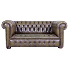 Chesterfield Leather Sofa Olive Green Two-Seat Couch Genuine Leather Vintage