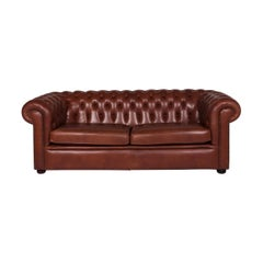 Chesterfield Leather Sofa Red Brown Three-Seat Couch Retro