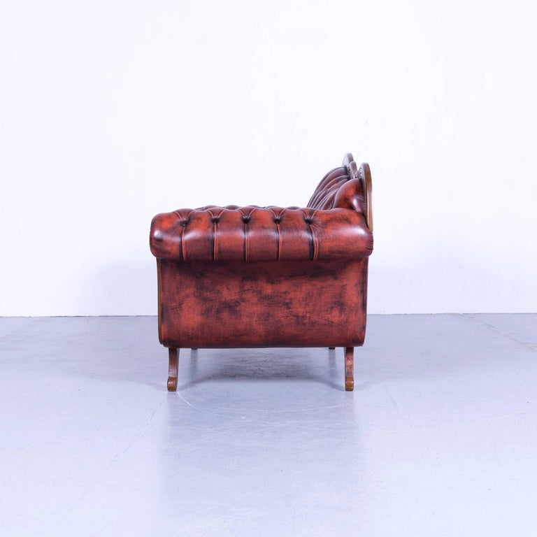 Chesterfield Leather Sofa Red Brown Three-Seat Couch Vintage For Sale 5