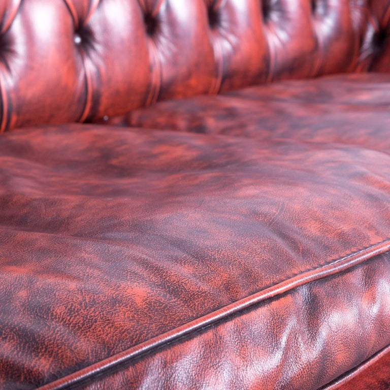 Contemporary Chesterfield Leather Sofa Red Brown Three-Seat Couch Vintage For Sale
