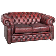 Chesterfield Leather Sofa Red Real Leather Two Seater Couch Vintage Retro