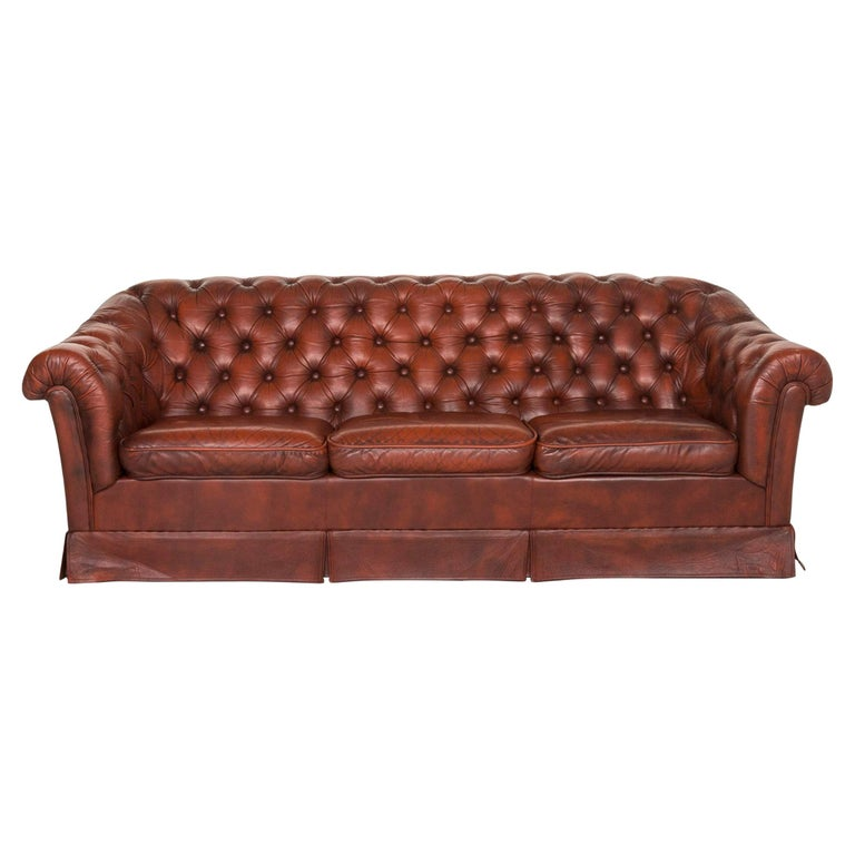 Chesterfield Leather Sofa Red Three-Seat Retro Vintage Couch For Sale