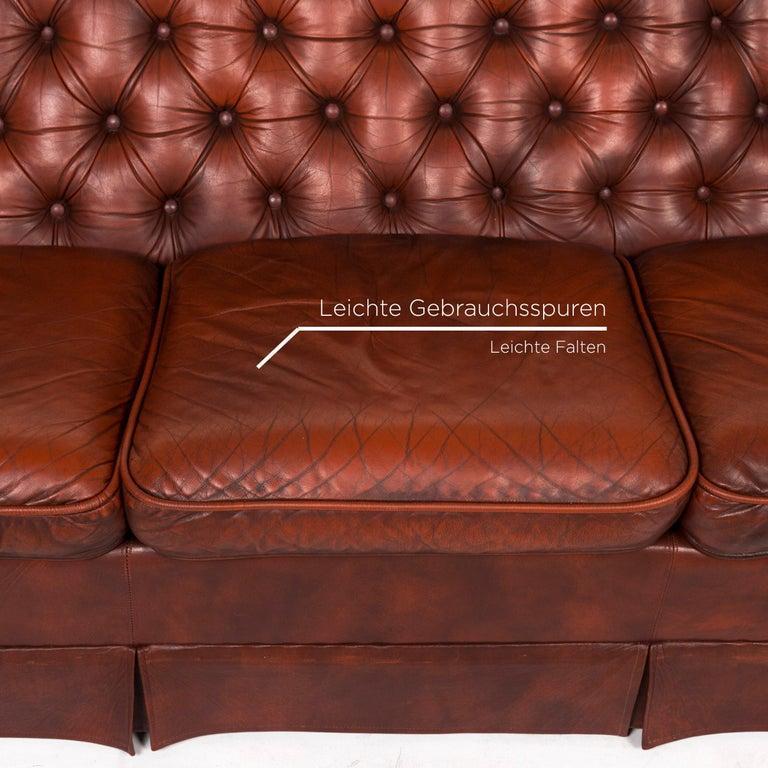 British Chesterfield Leather Sofa Red Three-Seat Retro Vintage Couch For Sale