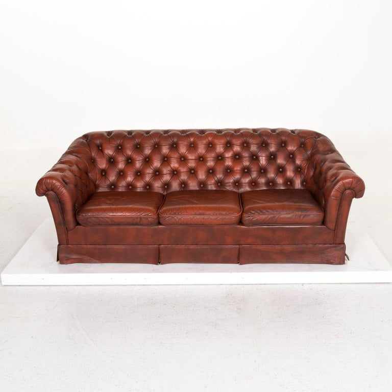 Chesterfield Leather Sofa Red Three-Seat Retro Vintage Couch For Sale 1