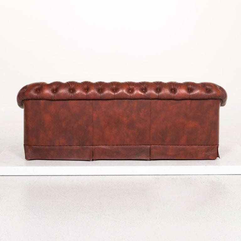 Chesterfield Leather Sofa Red Three-Seat Retro Vintage Couch For Sale 3