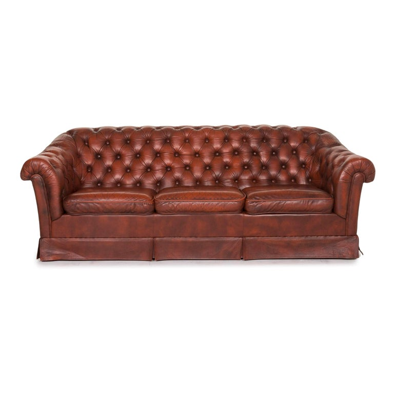Chesterfield Leather Sofa Red Three