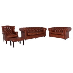 Chesterfield Leather Sofa Set 1 Three-Seat 1 Two-Seat 1 Armchair 1 Stool