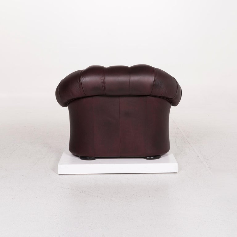 Chesterfield Leather Sofa Set Brown Violet 1 Two-Seat 1 Armchair Retro For Sale 4