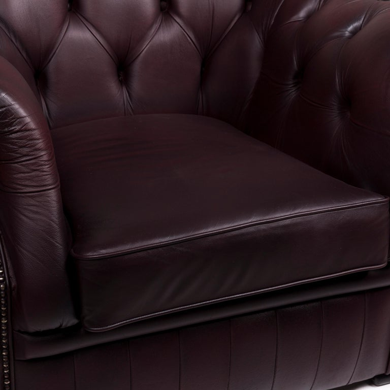 Modern Chesterfield Leather Sofa Set Brown Violet 1 Two-Seat 1 Armchair Retro For Sale