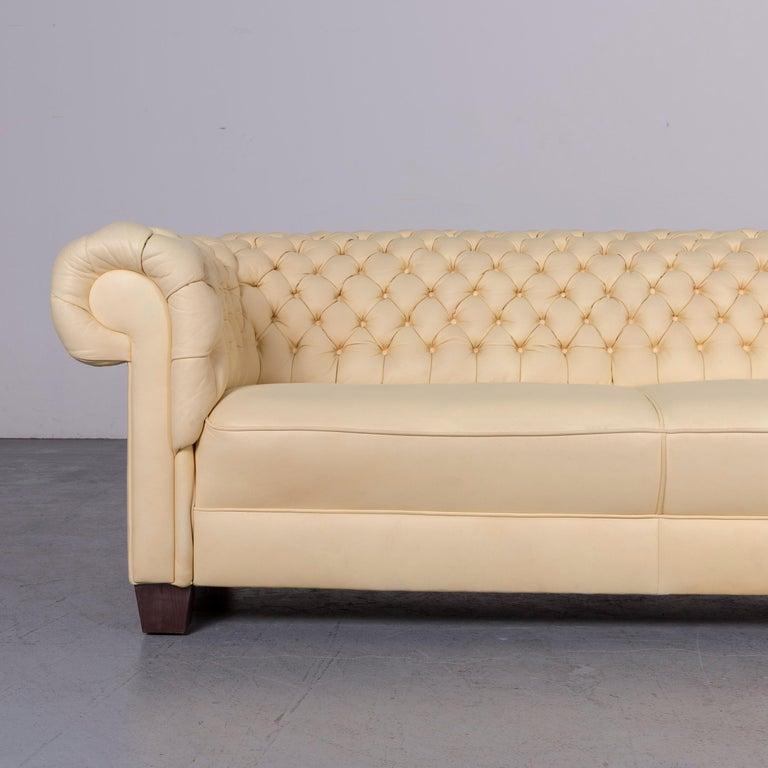 British Chesterfield Leather Sofa Set Crème Three-Seat Couch
