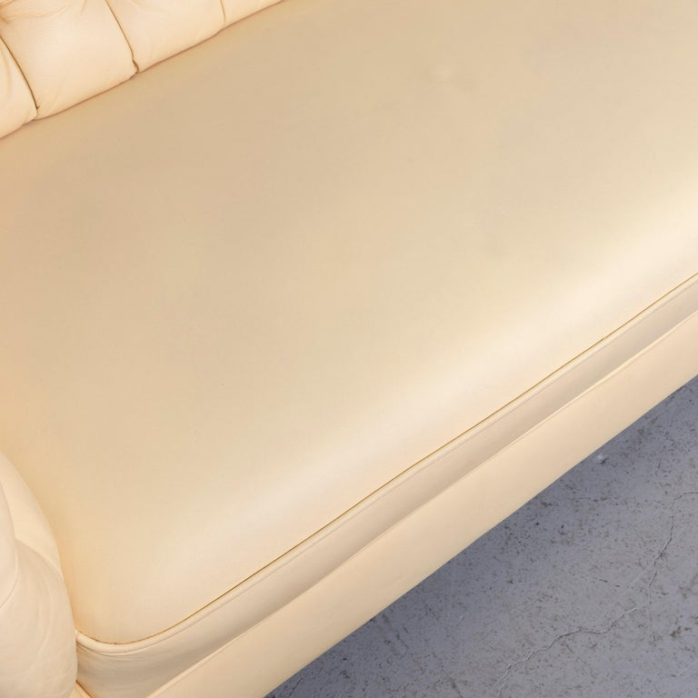 Contemporary Chesterfield Leather Sofa Set Crème Three-Seat Couch