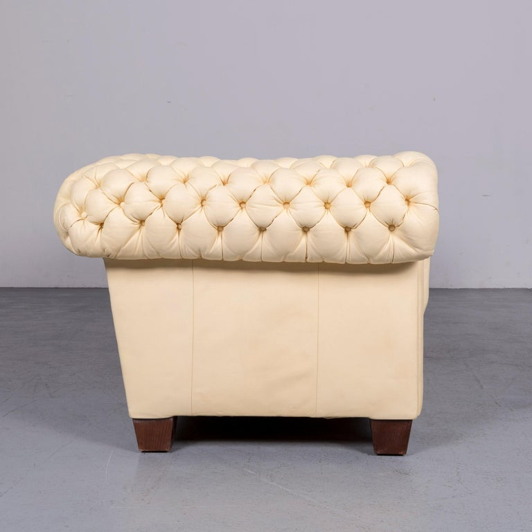 Chesterfield Leather Sofa Set Crème Three-Seat Couch 2