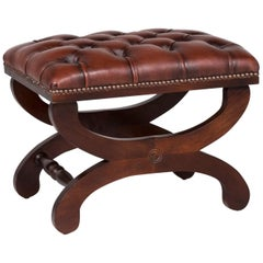 Chesterfield Leather Stool Brown Stool Retro