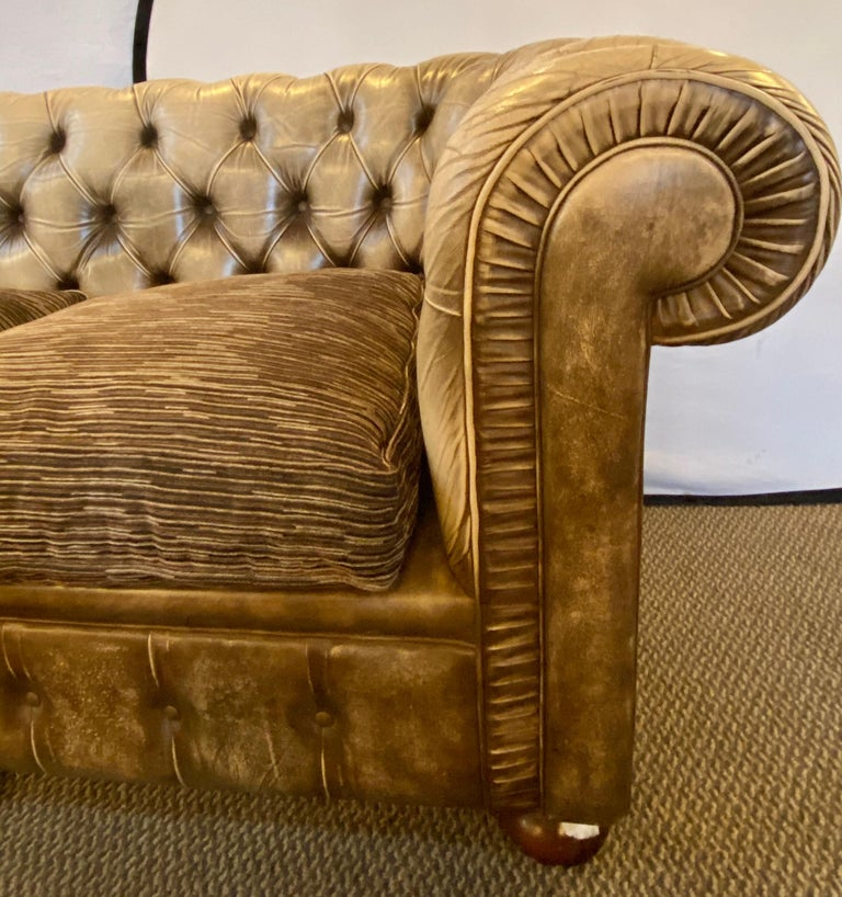 20th Century Chesterfield Leather Upholstered Loveseat Sofa