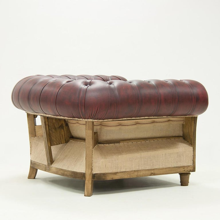 Chesterfield Raw Armchair with Red Vintage Leather For ...