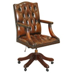 Chesterfield Restored Vintage Brown Leather Captains Directors Office Chair