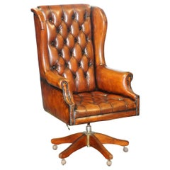 Chesterfield Restored Wade Brown Leather Wingback Captains Directors Armchair
