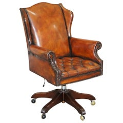 Chesterfield Restored Wade Upholstery Brown Leather Wingback Captains Chair