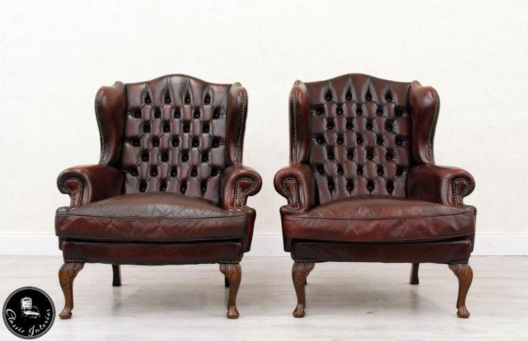 Chesterfield Sofa Armchair Leather Antique Armchair