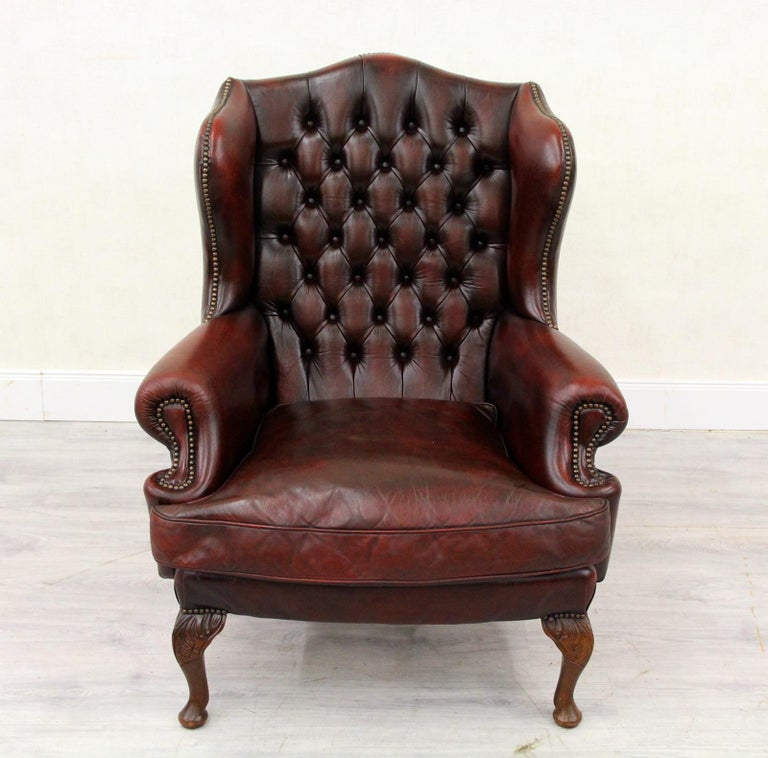 Chesterfield Sofa Armchair Leather Antique Armchair