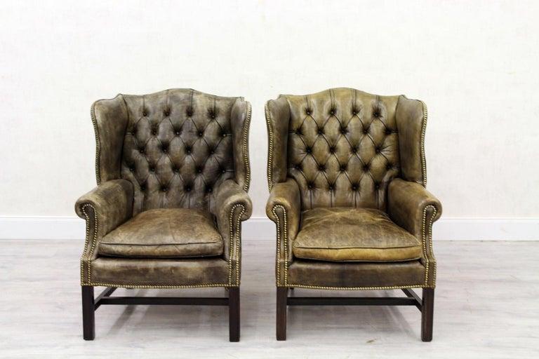 Chesterfield Sofa Sessel Leder Ohrensessel Antik Englisch Im Angebot