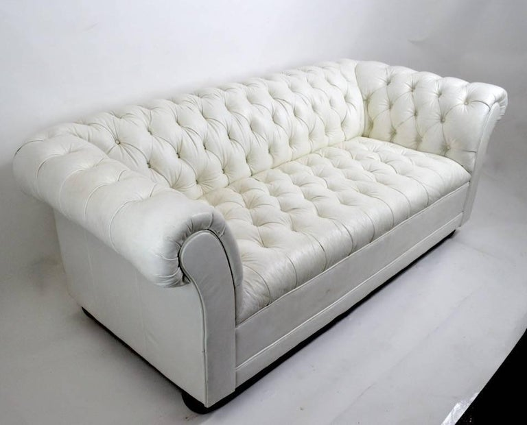 Chesterfield Sofa In White Vinyl Upholstery For Sale At