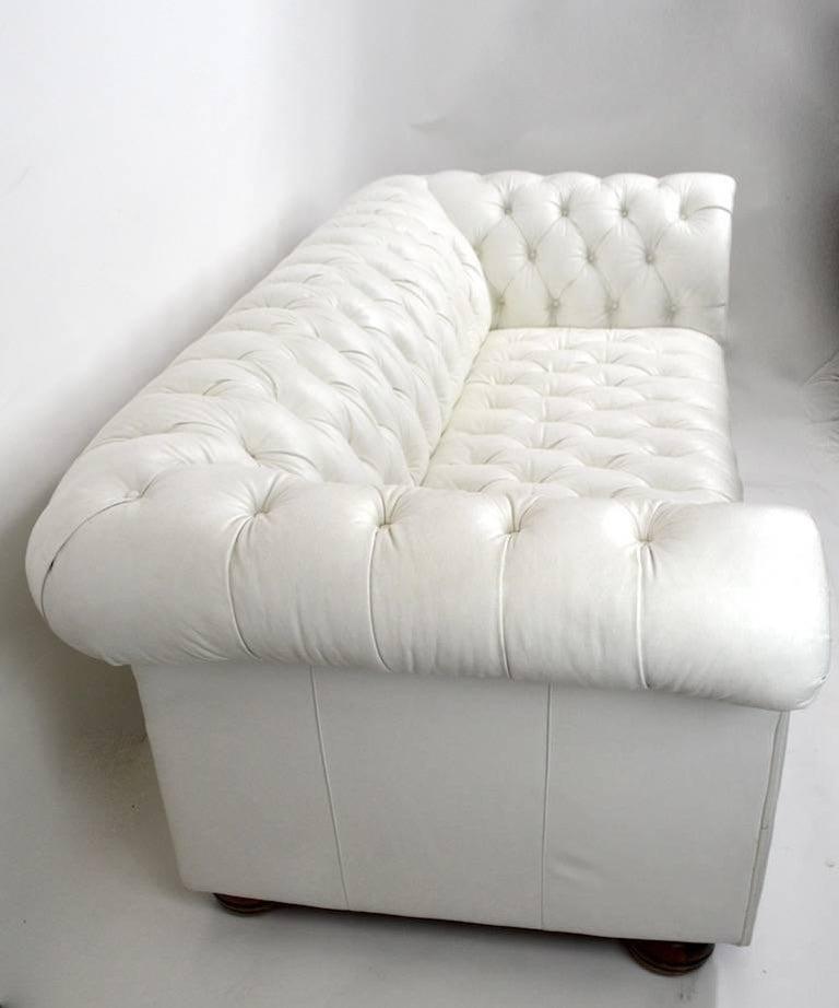 Hollywood Regency Chesterfield Sofa in White Vinyl Upholstery For Sale