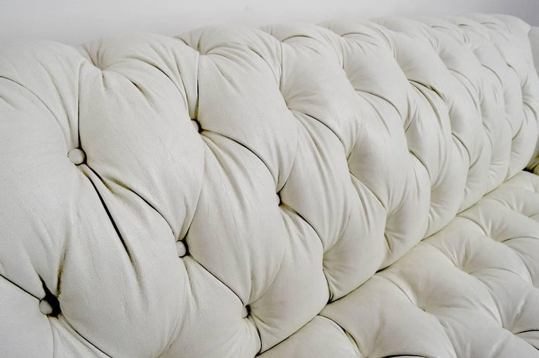 20th Century Chesterfield Sofa in White Vinyl Upholstery For Sale