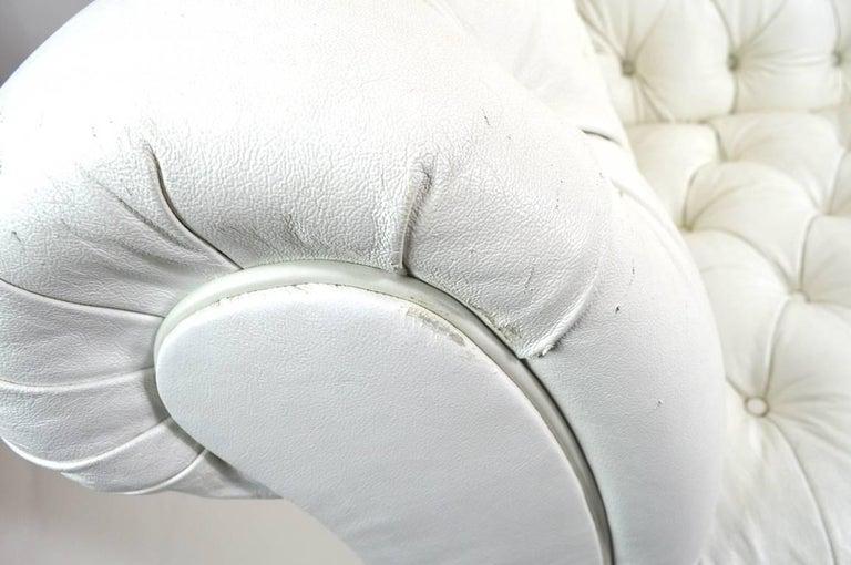 Chesterfield Sofa in White Vinyl Upholstery For Sale 1