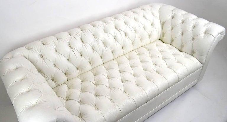 Chesterfield Sofa in White Vinyl Upholstery For Sale 2