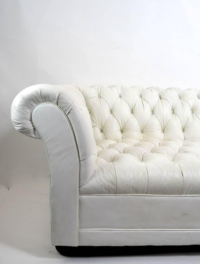 Chesterfield Sofa in White Vinyl Upholstery For Sale 3