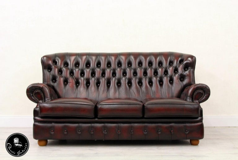 Chesterfield Sofa Leder Antik Vintage Couch Englisch Chippendale At