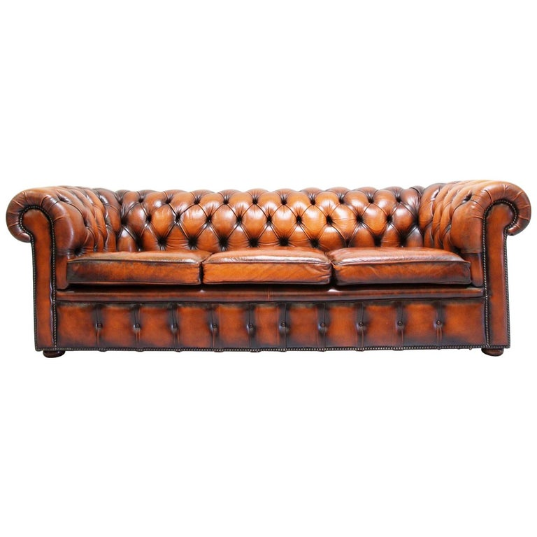 Chesterfield Sofa Leder Antik Vintage Couch English Chippendale For