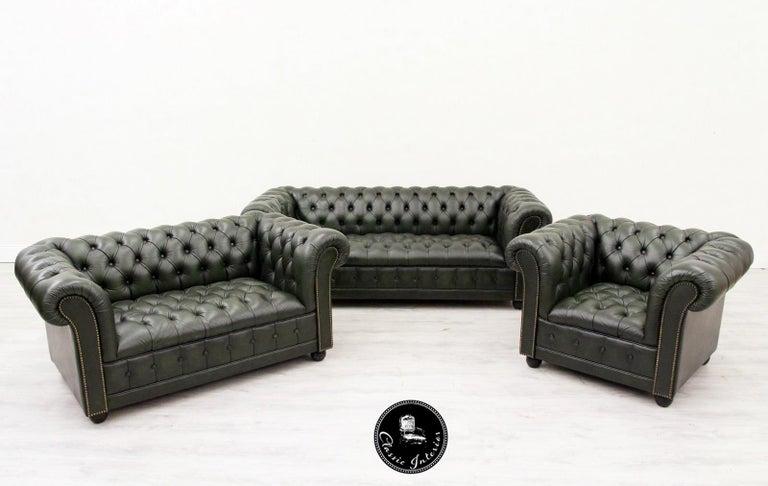 Chesterfield Sofa Sessel Leder Antik Fernsehsessel English 3 2 1