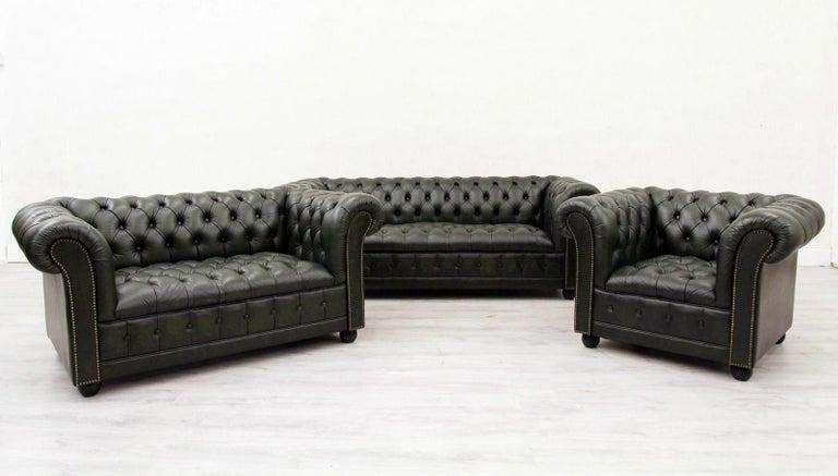 Chesterfield Sofa Sessel Leder Antik Fernsehsessel English 3 2 1 At