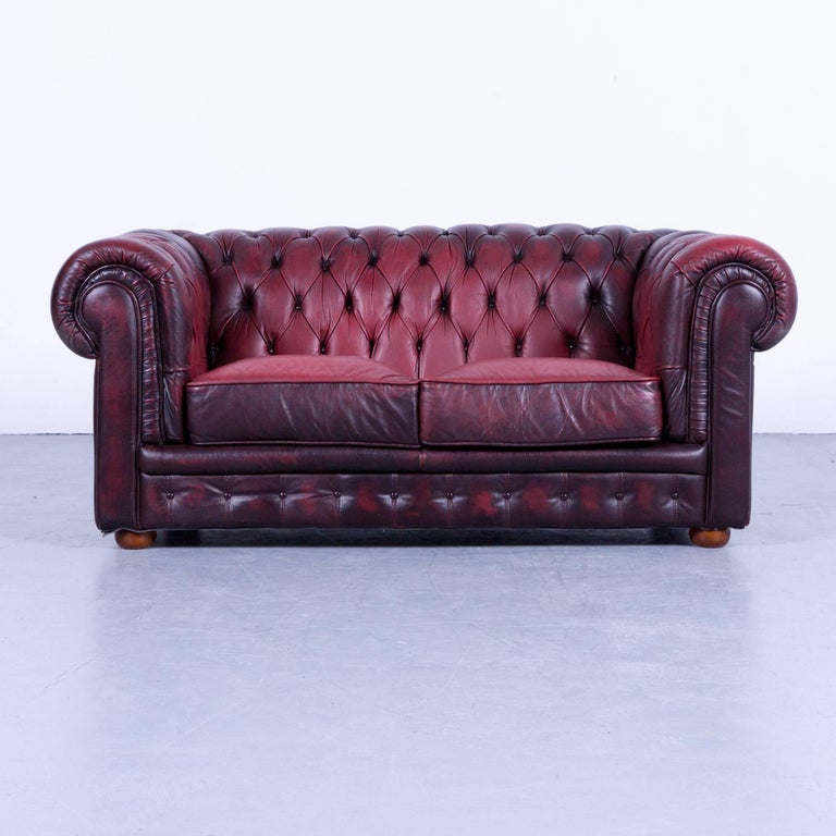 Chesterfield Sofa Set Consisting Of Two Sofas Red Leather Couch Vintage Retro Rivets
