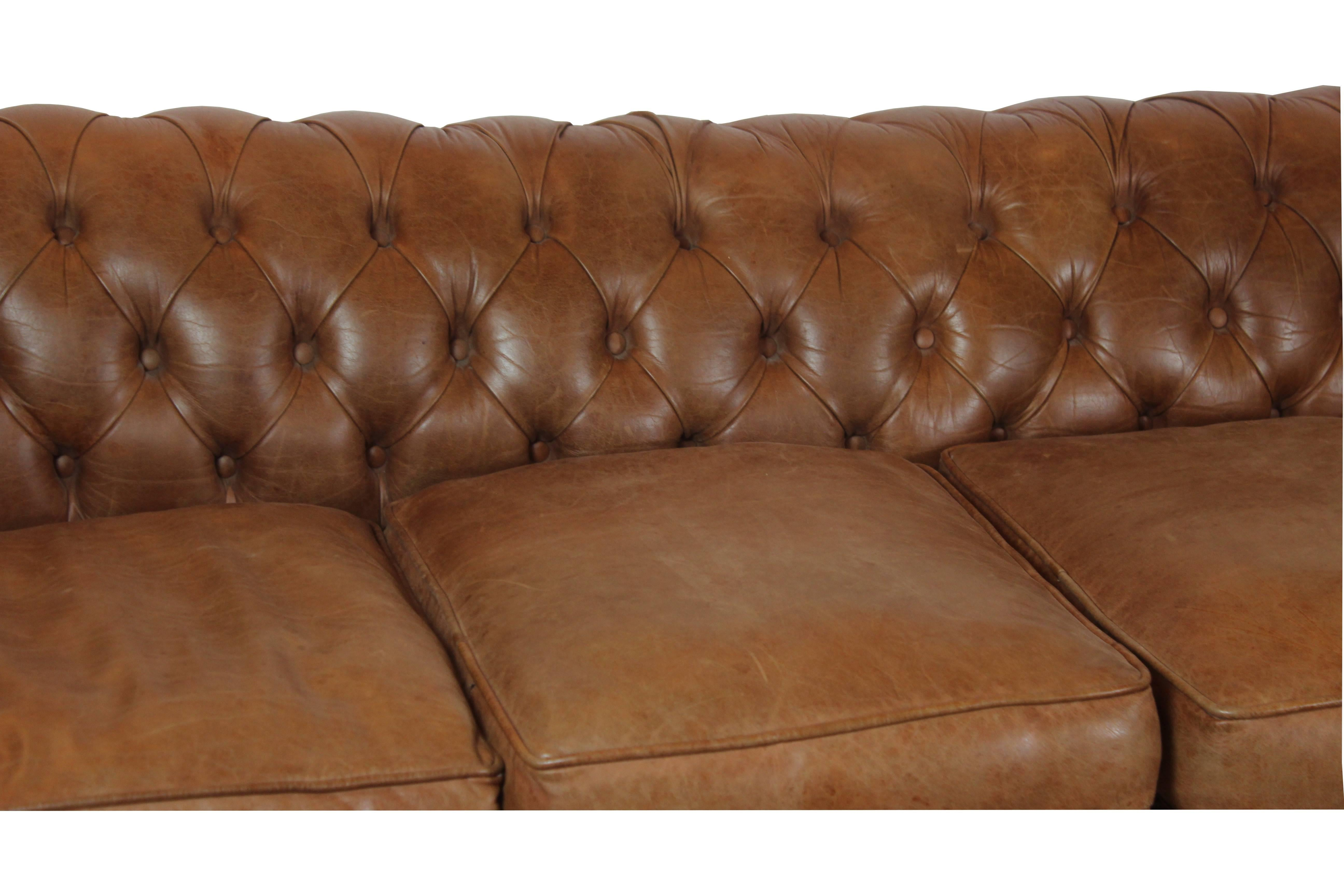 Chesterfield Style Sofa Wonderful Quality Made With Soft Leather, Four  Loose Cushions And Four Ball