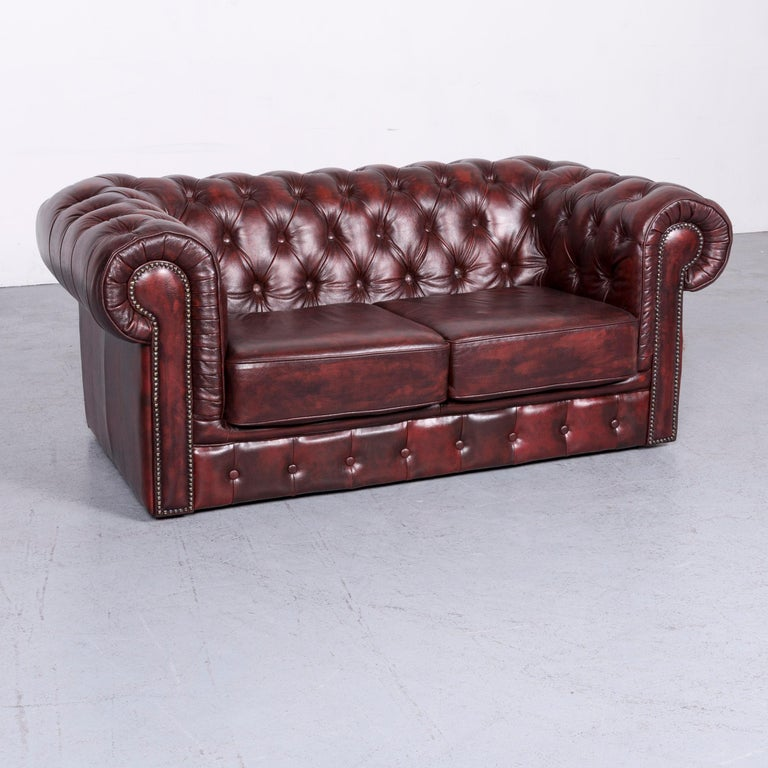 Chesterfield Style Vintage Leather Sofa Two-Seat Couch Red at 1stdibs