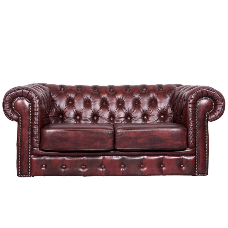 Chesterfield Style Vintage Leather Sofa Two-Seat Couch Red