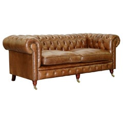 Chesterfield Tufted Heritage Brown Leather Three-Seat Sofa Part of a Large Suite